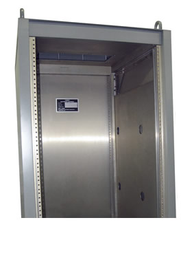 Employ Interstitial Space with Cabinet Side Walls as Air Plenum to Carry/Port Cooling Air Directly onto Hot Components