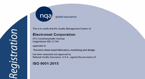 Electromet Corporation Achieves the ISO 9001: 2015 Certification
