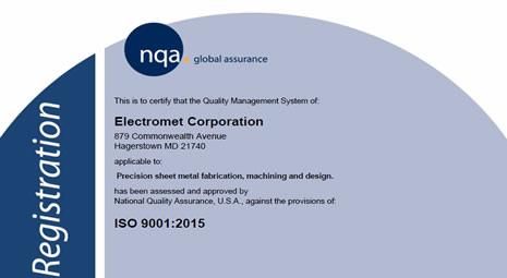 Electromet - ISO 9001-2008, 2015 Certificate