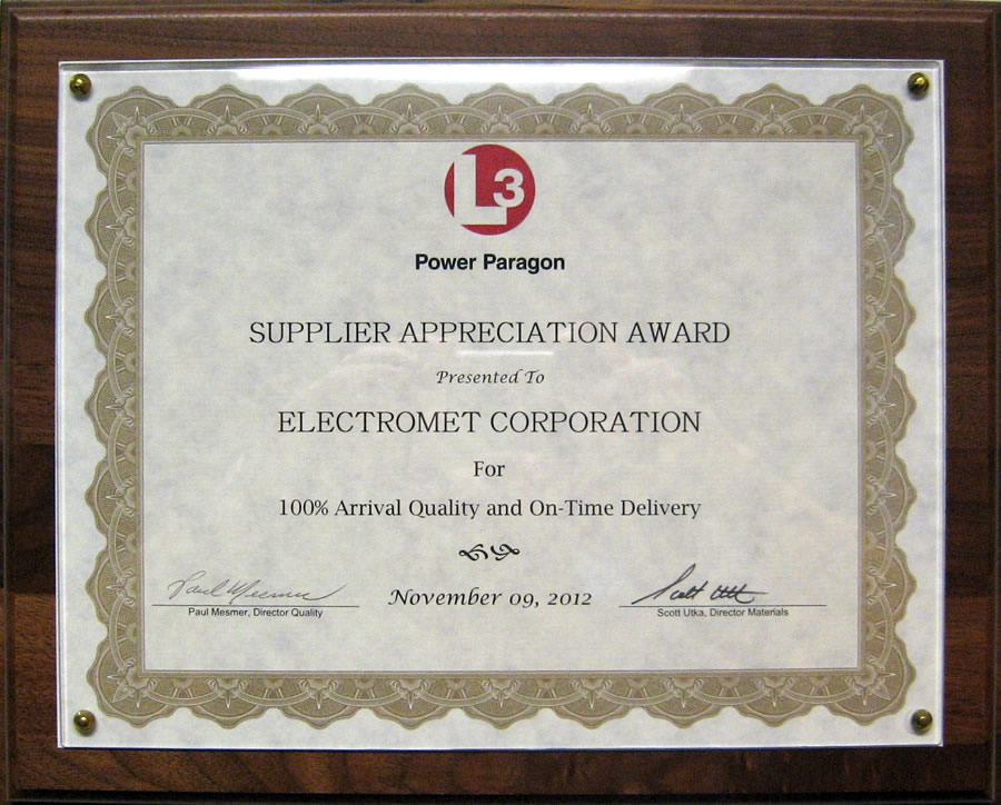 L# Communications Quality Award