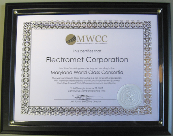 Electromet Corporation Recognized by the Maryland World Class Consortia