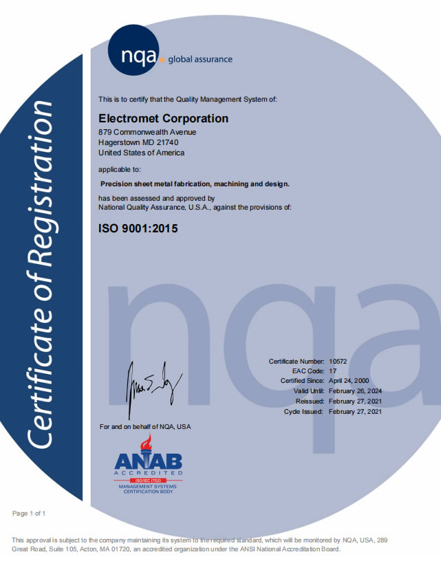ISO 9001-2015 Certificate:  2018
